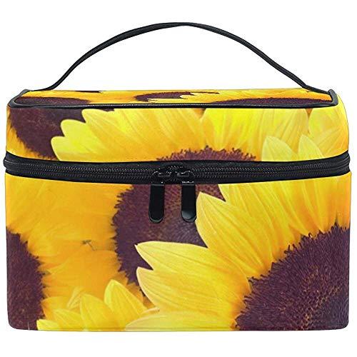Cosmetic Bag, Beautiful Sunflowers Travel Makeup Organizer Bag Cosmetic Case Portable Train Case