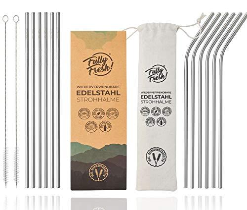 FullyFresh! | NEU | 304 Edelstahl Strohhalm 12er Set (BPA-frei & 6mm) | inkl. 2 Bürsten & ECO-Beutel | rostfreie & wiederverwendbare Metall Trinkhalme, Trinkrohr | für Cocktail & Smoothie