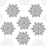 Kyrieval 24 Stück Glitter Schneeflocke Kunststoff Weihnachten Schneeflocke Ornamente Mit 24 Silberseil Für Weihnachtsdeko Fensterdeko(10 cm, Silber )