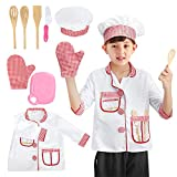 BeebeeRun Kids Chef Costume Role Play Kit Set,Halloween Activities Pretend Role Play Set with Cook Tools,Educational Cooking Dress Up Gift for Toddler,Kids(Chef)