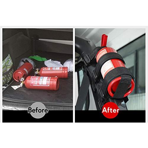 Voodonala for Jeep Roll Bar Fire Extinguisher Holder 2.5-3LB Adjustable Strap Bracket Mount for 1965-2021 Jeep Wrangler TJ CJ YJ JK JKU JL JLU JT, Black, 1pc
