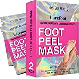 MYSTERE BEAUTE Foot Peel Mask, 2 Pack Exfoliating Foot Mask for Cracked Heels, Dry Skin and Calluses - Lavender Scented Foot Peel and Foot Care - Skin Care Tools for Men and Women