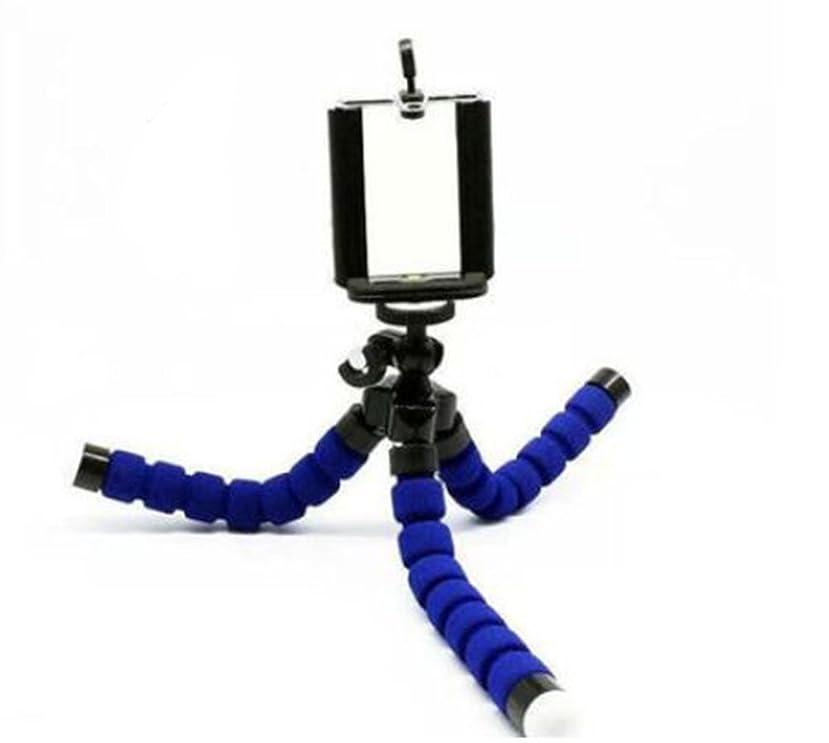 手机便携式和可调节 stent 海绵章鱼三脚架适用于 iPhone SAMSUNG 摄像机视频手机, 蓝色