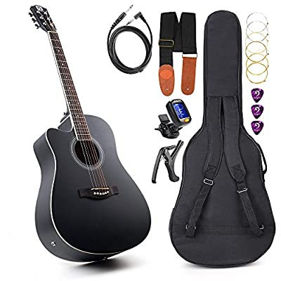 Left Handed Guitar Acoustic Electric Cutaway Guitar 41 Inch Full-size Beginner kit Professional black guitar Left Hand, by Vangoa