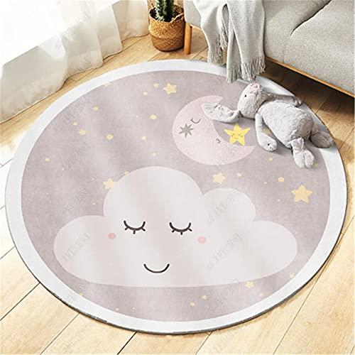 SWECOMZE Alfombra infantil mullida, redonda, de pelo corto, alfombra de juego para gatear con motivos de animales, antideslizante, lavable, para habitación de bebé (nubes, diámetro 120 cm)