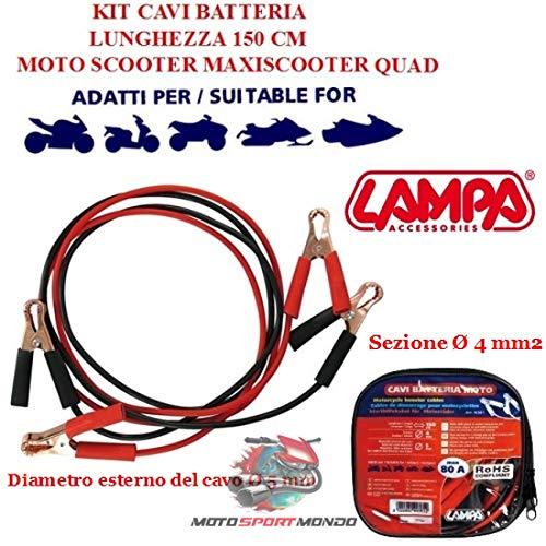 Accu voor scooter 80A lamp 90361 pins van staal met isolate LUN 150 cm deel Ø 4 mm kabel Ø 5 mm