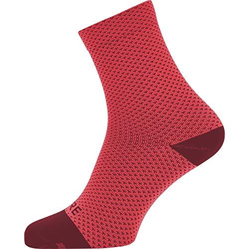 GORE WEAR C3 Unisex Mittellange Fahrrad-Socken, Größe: 41-43, Farbe: pink/bordeaux