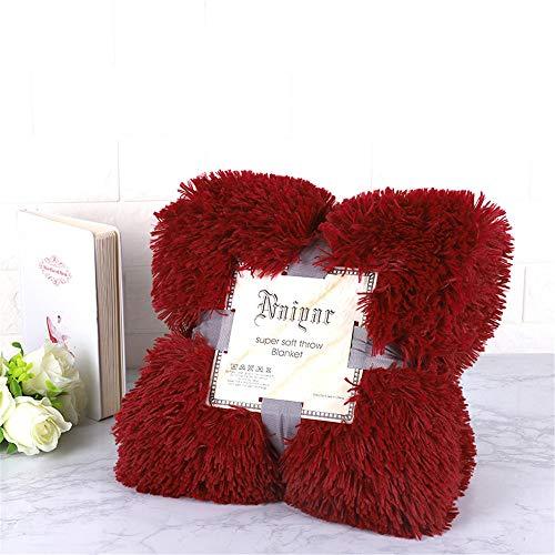 Nobrands - Coperta morbida e soffice in pelliccia, per letto a pelo lungo, in tinta unita, per divano letto, 130 x 160 cm, colore: rosso vino