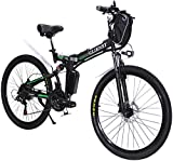 CLIENSY 26 Inch Electric Bike, 350W Folding E-Bike with Removable 36V 8AH Lithium Battery for Adults, 21 Speed Shifter (Green)