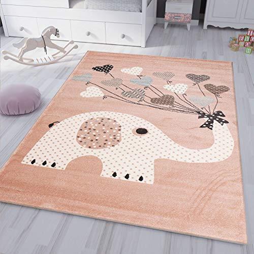 VIMODA Kinderteppiche Herzen mit Ballons Elefant | Kinderteppich für Mädchen und Jungs | Teppich für Kinderzimmer | Schadstofffrei, Maße:160x230 cm