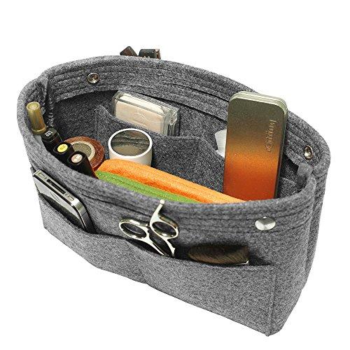TOPHOME Insert Handbag Organizer Bag in Bag Cosmetic Storage Makeup Bag Organizers Felt Container Organizer Storage Organizing Home Girl Handbag Grey