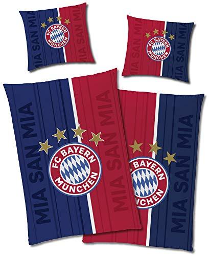 FC Bayern München Wende-Bettwäsche Champions Glow in The Dark 135 x 200 + 80 x 80 cm 100% Baumwolle Linon Fußball FCB Allianz Arena Rekord-Meister Mia san Mia deutsche Größe mit Reißverschluss