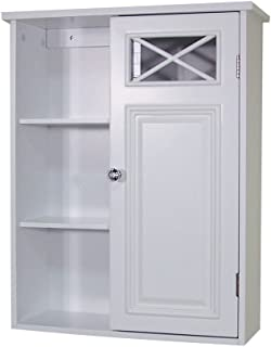 Elegant Home Fashions Dawson Collection Shelved Wall Cabinet with Door and Storage Cubbies, White