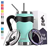 Koodee 20 oz Tumbler Stainless Steel Vacuum Insulated Coffee Travel Mug with Handle, 2 Lids, 2 Straws, Pipe Brush (20 oz, Teal)