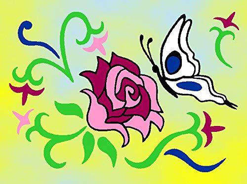 Klebefolien Sandbild OHNE Sand, 15x20cm, 439 Rose MIT Schmetterling / Blume - Weitere Bastelsets erhältlich