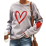 BKTOPS Love Heart Shirt for Valentines Day Women Cute Long Sleeve Poullver Tops Sweatshirts, 01- Gray Valentine'slove, X-Large