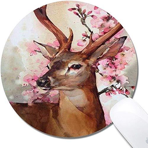 Gaming Office Mouse Pad, Deer Blossom Tuch Oberfläche Naturkautschuk Schreibtisch Mouse Pad - Runde 7.9X7.9 In