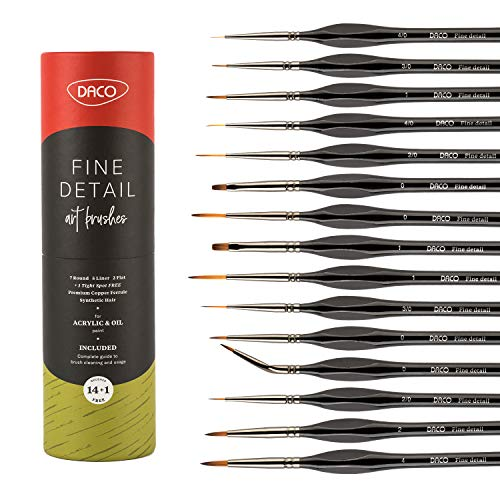 DACO Miniature Paint Brushes 14pcs+1, Detail Paint Brush Set with Ergonomic Wood Handles, Paint Brush Holder and Travel Bag, Suitable for Acrylic Paint, Oil, Watercolor, Paint by Numbers for Adults