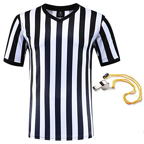 SHINESTONE Schiedsrichtershirt, Herren Basketball, Fußball, Schiedsrichter, Trikot, Kurzarm, feuchtigkeitsableitend und schnell trocknend, perfekt für Outdoor-Sportarten, schwarz/weiß,V-Neck, XL