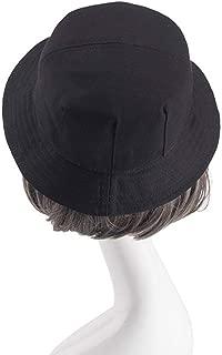 Unisex Cotton Bucket Hat Women Cap (Color : Black)