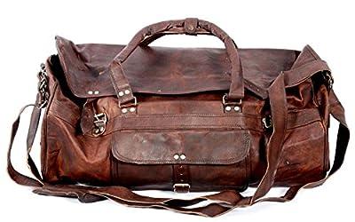 Cool Stuff Grand sac fourre-tout en cuir Sac de voyage Sac cabine Sac de gym Sac de sport (Marron)