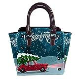 Top Handle Satchel Bolsos de hombro para las mujeres señoras cuero Crossbody bolsa feliz Navidad retro rojo coche Tote Satchel monedero mensajero Hobo bolso
