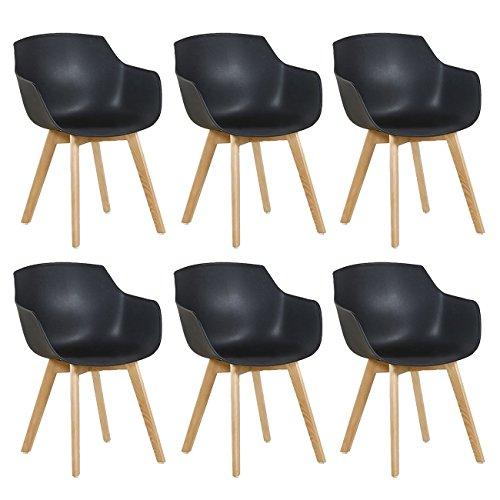 DORAFAIR 6er Set Sessel Skandinavisch Wohnzimmerstuhl Modern Esszimmerstühle mit solide Buchenholz Bein| Retro Design Stuhl für Büro Lounge Küche| Schwarz | Wohnzimmer > Stüle > Wohnzimmerstühle | DORAFAIR