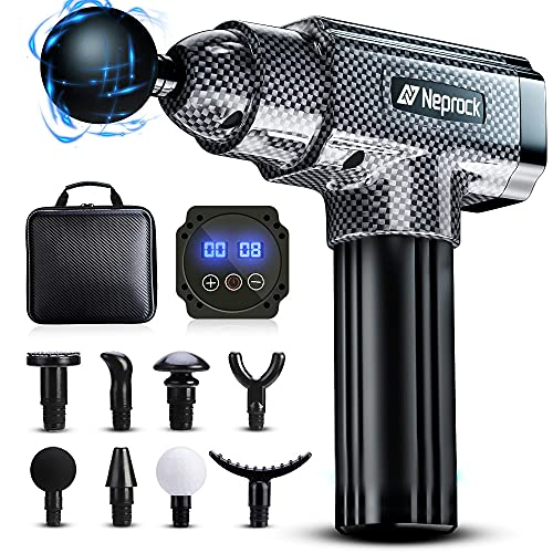 Fathers Day Gifts Massage Gun Deep Tissue Massager, 20 Speeds Percussion Muscle Massage Gun for Athletes with Carrying Case & 8 Heads, Help Relieve Sore Muscle and Stiffness