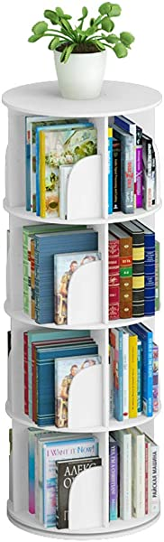 Modern Minimalist Circular Creative Rotating Bookshelf White 4 Sizes Can Choose Showcase Size 4 Layer