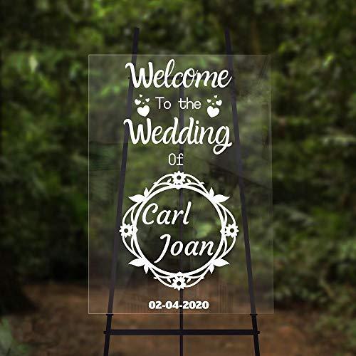 JXFM Stijlvol welkomstbord kan naam bruiloft glazen sticker sjabloon welkomstglas verwijderbare sticker 42x82cm worden aangepast