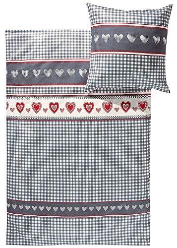 Erwin Müller Feinflanell-Bettwäsche, Bettgarnitur Karo, Herz grau-rot-weiß, Größe 135x200 cm (80x80 cm) - für die kalte Jahreszeit, weich und flauschig, mit praktischem Reißverschluss (weitere Größen)