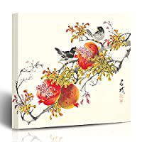"""キャンバスプリント中国の日本の韓国ツリーガーデン伝統的なハンドブラシインクフードドリンクシーズン中国花の壁のアート16x16インチ装飾的な絵画アートワークの家の居間の寮 CUINA (Color : Of0115, Size : 12""""W x 12""""L)"""