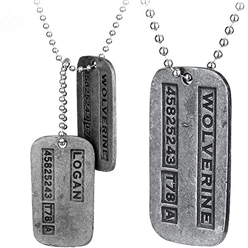 Froiny 2pcs X-Men Logan Metal Cadena Colgante Cadena Perro Collar