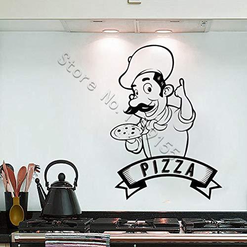 Ajcwhml Backkoch Wandaufkleber Pizza Wandtattoo Küche Pizzeria Logo Restaurant Vinyl Aufkleber Fenster Chef Logo Restaurant - 42X58CM