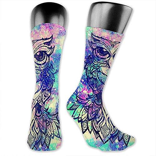 Mooie uil Galaxy behang jurk sokken voor mannen en vrouwen, klassiek plezier patroon compressielaarzen sokken, zachte polyesterstof buis sokken