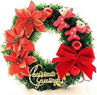 Christmas Party Flowers Christmas Wreath Door Hanging Ornaments Room Christmas Tree Pendants for Decoration(Red)