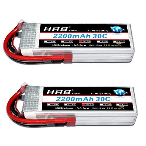 HRB Batteria Lipo 2200mAh 14,8 V 30C 4S per Elicottero RC Aeroplano RC Hobby RC Quadricottero Elicottero RC (2 Confezioni)