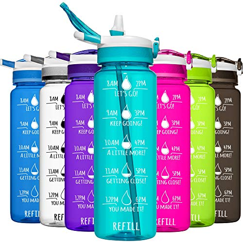 water bottle with straws HydroMATE 32 oz Water Bottle with Straw and Motivational Time Markings Reusable Leak Proof BPA Free Bottle Time Marked to Drink More Water Daily Hydro MATE 1 Liter
