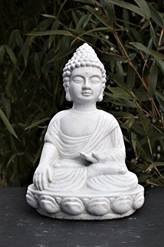 Tiefes Kunsthandwerk Steinfigur Buddha - Antik-Weiss, Deko Statue frostsicher und wetterbeständig für Haus und Garten, Steinfigur