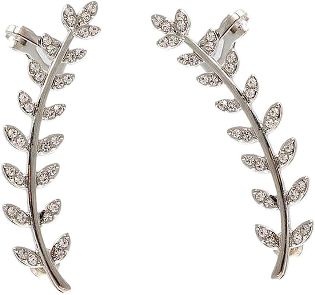 Bonarty Diamante Hypoallergenic Leaf Ear Climber Earrings Party Wedding Prom Jewelry