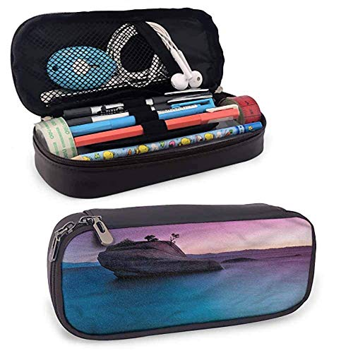 Nature Leather Pencil Pouch Bonsai Rock Lake Tahoe para Pen Pencil Samsung...