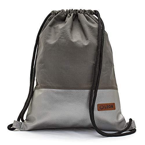 By Bers LEON Turnbeutel mit Innentaschen einfarbiges Design Rucksack Tasche Damen Herren & Teenager Gym Bag Hipster (grau_grau_metallic)
