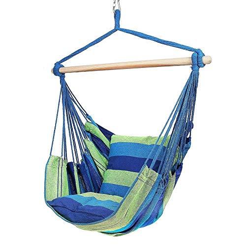 2019 nowe krzesło hamak fotel wiszący fotel huśtawka siedzisko z 2 poduszkami do wnętrz, na zewnątrz, do ogrodu (nie zawiera drewnianej patyczki)