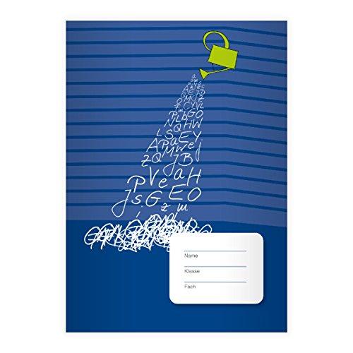 Kartenkaufrausch 1 fris ABC DIN A4 schoolschrift, rekenboekje met gieter op strepen op blauwe liniatuur 7 (geruit boekje)