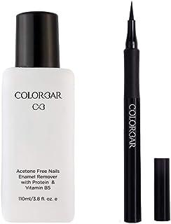 Colorbar Nail Polish Remover, 110ml And Colorbar Ultimate Eye Liner, Black, 1ml
