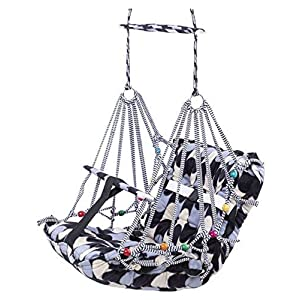 BigBuzz Multicolor Cotton Swing for Kids, Chair Jhula for 1-3 Years Old Babies with Safety Belt, Washable and Folding… 11 51cwJRs0i+L. SS300