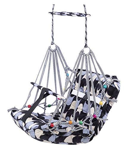 BigBuzz Cotton Swing for Kids, Chair Jhula for 1-3 Years Old Babies with Safety Belt, Washable and Folding Jhula, Home & Garden Children Jhula, Baby Swings for Indoor & Outdoor (Multicolour)