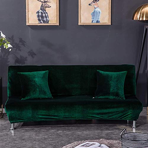XHNXHN Funda de futón de Terciopelo sin Brazos, Protector de Funda de sofá Cama elástico, Protector de Muebles de Funda de sofá Suave Antideslizante con Fondo elástico para Perros Verde Oscuro 63-7