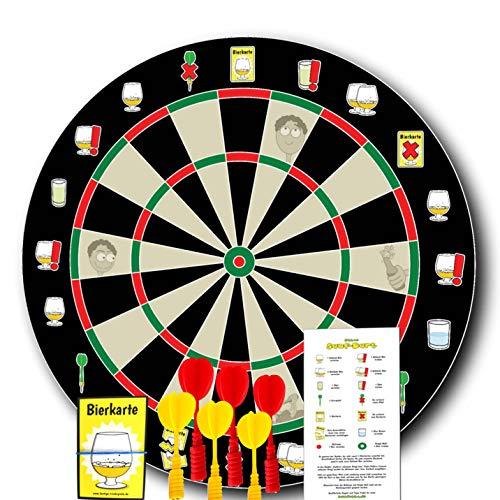 Ottos Sauf-Dart - Magnet Dartboard als Trinkspiel zum Vorsaufen für lustige Partyabende oder Junggesellenabschiede mit 6 magnetischen Dartpfeilen, 25 Bierkarten und Regelkarte
