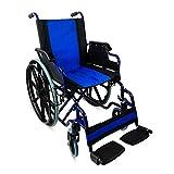 Zusammenfaltbarer Rollstuhl mit Selbstantrieb | In Blauen Farben | Sitzbreite 43 cm | Stahl | Giralda Modell | Mobiclinic -